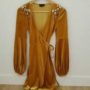 Topshop velvet gold dress with embroidery